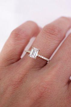 Emerald Diamond Center Stone on Thin Pavé Band Emerald Cut Engagement, Diamond Engagement Rings, Emerald Diamond, Diamond Rings, Silver Rings, Band, Elegant, Stone, Jewelry