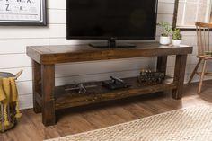 "65"" x 18"" x 24"" H Pieced Top Media Console in Dark Walnut stain. TV console features lower shelf."