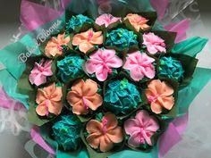Tropical Bouquet of Hawaiian flowers - Modern Hawaii Cupcakes, Tropical Cupcakes, Floral Cupcakes, Wedding Cakes With Cupcakes, Birthday Cupcakes, Decorated Cupcakes, Cupcake Flower Bouquets, Bouquet Flowers, Island Cake