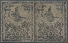 Turkey, Michel Isf 2 PV02. 1863, TUGRALI first print 5 Pia. rose horizontal pair mint with new gum, light border at bottom, full margins and fresh colour, certificate du Vachat, rarity of this issue, Isfila cat. value 60.000,- Euro++