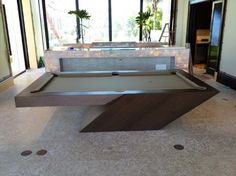 CATALINA Pool Table by MITCHELL   Exclusive Billiard Designs   Shown with optional Ping Pong Table Top!