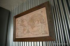 DIY Old Map frame in reclaimed wood - vintage industrial design - restoration hardware inspired