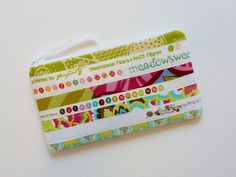 Padded Zipper Pouch Cosmetic Case Pencil Pouch Selvage Selvedge Quilted Fabric