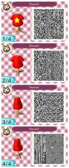 Steven // Steven Universe themed Animal Crossing New Leaf QR code.  Made by Elle from Appleton. // appletondiaries.tumblr.com