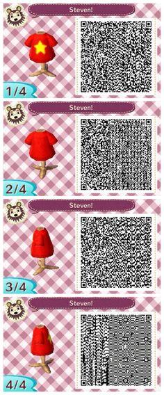 Steven // Steven Universe themed Animal Crossing New Leaf QR code. Made by Elle from Appleton. // appletondiaries.tumblr.com