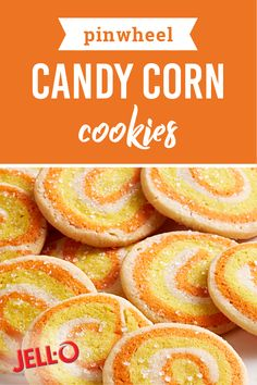 Pinwheel Candy Corn Cookies – Get in the Halloween spirit with these colorful swirled cookies! Inspired by a classic fall candy, it's no wonder why this dessert is a favorite for the season. Pinwheel Candy Corn Cookies – Get in the Hallow Halloween Baking, Halloween Food For Party, Holiday Baking, Halloween Desserts, Halloween Treats, Baking Recipes, Cookie Recipes, Dessert Recipes, Jello Desserts