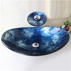 lavabo Moderne en Amande en Verre Trempé  Robinet lavabo forme de cascade égouttoir bague de montage