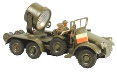 June 22nd Auction. Hausser Tinplate Military Spotlight Truck. #ToySoldiers #MorphyAuctions
