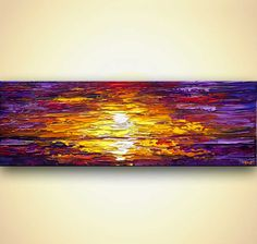 modern textured sunset palette knife painting