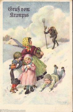 Oh, no . KRAMPUS is coming. (Gruss Vom Krampus) . An old German postcard.