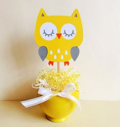 Owl Centerpiece Die Cut by MyMixedMediaCrafts on Etsy