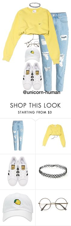 """Untitled #2904"" by unicorn-human ❤ liked on Polyvore featuring H&M, NIKE, adidas Originals and Forever 21"