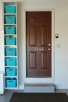 Maximize your garage storage space quickly and easily with simple and inexpensive . Want some more DIY garage organization ideas? the system offers custom solutions to get tools and materials off the garage floor Garage Entryway, Garage House, Garage Doors, Garage Signs, Car Garage, Garage Mudrooms, Entryway Paint, Garage Walls, Ideas Para Organizar