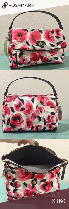 """NWT: Kate Spade Floral Bag Kate Spade Miri Blake Avenue Printed Crossbody bag. Printed rose. Printed Nylon and Leather Trim and Handles. Shoulder Bag with optional, adjustable cross-body Strap. Exterior zipper pocket and zipper flap compartment. Interior zip and double slide pockets. Front Flap closure with Kate Spade Logo decree Measures 10 1/2"""" (L) x 8 1/2"""" (H) x 4 1/2"""" (D) approximately. Adjustable Shoulder Strap 22"""" drop. Golden hardware less. So spring!!! kate spade Bags"""