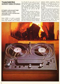 1968 brochure for Tandberg reel to reel tape recorder products in Reel2ReelTexas.com's vintage recording collection