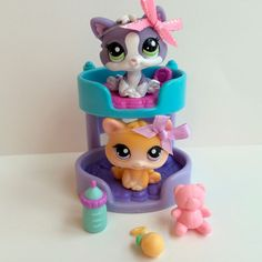 Littlest Pet Shop Pair of Kittens #114 & #2033(RARE!) w/Bunk Bed & Accessories #Hasbro