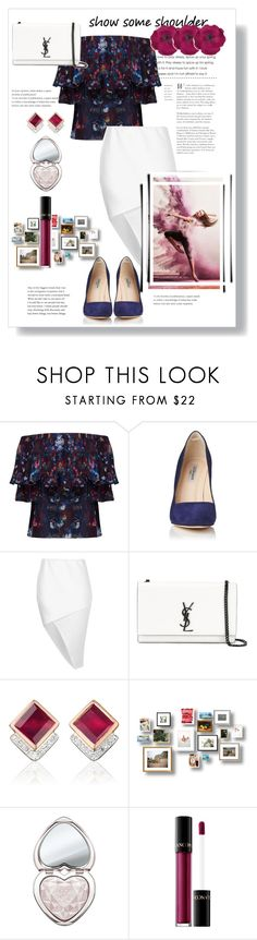 """""""off#shoulder#**"""" by bluealmonds-dk ❤ liked on Polyvore featuring Lily and Lionel, L.K.Bennett, Boohoo, Yves Saint Laurent, Monica Vinader, Too Faced Cosmetics, Lancôme, Gucci and showsomeshoulder"""