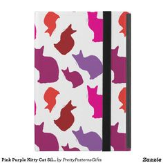 Pink Purple Kitty Cat Silhouettes Pattern Gifts iPad Mini Case SOLD on Zazzle