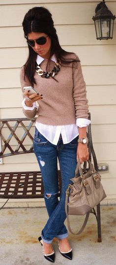 how to wear ripped jeans : nude top white shirt bag loafers