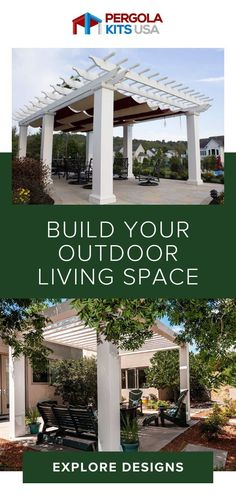 Create an outdoor room that is visually appealing and creates a leisure atmosphere. Cedar Pergola, Diy Pergola, Pergola Kits, Backyard Retreat, Backyard Landscaping, Landscaping Ideas, Outdoor Rooms, Outdoor Dining, Old World Style