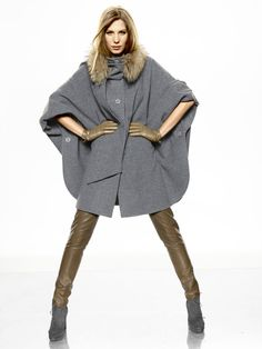 style caban grise capuche amovible