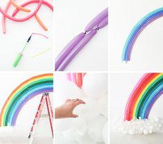 Rainbow Balloon background - Home Page Balloon Background, Balloon Backdrop, Diy Backdrop, Balloon Garland, Balloon Columns, Red Birthday Party, Jojo Siwa Birthday, Rainbow Birthday, Blowing Up Balloons