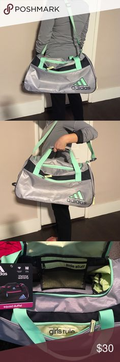 """Adidas Squad II Duffel gray lime green gym bag Adidas """"girls rule"""" squad II duffel bag. Has women's specific organization. Multiple compartments on sides and inside. Great condition. Shoulder strap could use a wash. 20"""" inch long at it's longest, 10"""" inch wide with a couple inches to stretch, 11"""" inch tall. Adjustable and removable shoulder strap. Adidas Bags Travel Bags"""