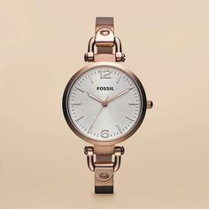 Fossil® Uhrenkollektionen Georgia Uhren Damen Damenuhr Georgia Edelstahl - Rotgoldfarben ES3110