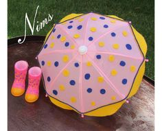 Adorable umbrella with boots (see my desc below) with felt dots for American Girl and other inch dolls. Decorated by Nims by NimsDollAccessories on Etsy Large Umbrella, Star Darlings, Blue Feather, Red Hats, Doll Accessories, American Girl, Barbie, Dots, Felt