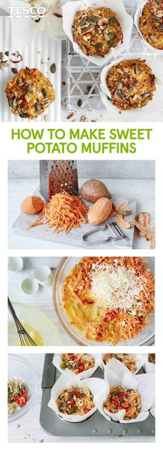 Perfect for brunch or afternoon tea, this savoury muffin recipe is loaded with sweet potato, Parmesan, feta, spring onions and chilli, finished with a sprinkle of mixed seeds. | Tesco