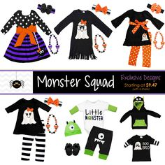 Monster Squad Outfits and Pajamas! Many NEW exclusive designs ready to pre-order now, available in Newborn to size 10/12! Mommy and me outfits, boy outfits, hoodies and more - shop now and save...