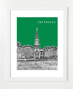 Dartmouth College Poster  Hanover New Hampshire City by birdAve, $20.00