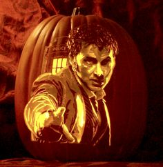 """Artist: Alex Wer, """"The Pumpkin Geek"""" That's an intense Tenth Doctor carving o.0 (Link to Doctor Who Tumblr)"""