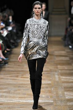 Balmain RTW Fall 2013. victorian. gilded. silver. tulip wrap skirt. #fall2013 #paris #Balmain