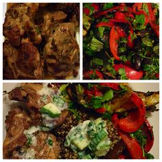 Luscious lamb chops. BBQ thyme lamb chops with cucumber & lactose free yoghurt dressing. Served with grilled vegetables and quinoa salad topped with coriander and basil.