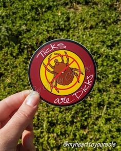 Ticks are Dicks Sticker designed by me and printed by Sticker Mule.  I created this sticker for anyone who has been affected by tick disease, and to spread awareness about tick disease. My husband got Rocky mountain Spotted fever from a tick bite a few years ago and luckily we cought it pretty Rocky Mountain Spotted Fever, Tick Bite, Unicorn Stickers, Poor Dog, Car Bumper Stickers, Lyme Disease, Ticks, Graduation Gifts, Sticker Design