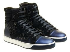 Lanvin Beaded High Top Trainer | Black/Blue • Highsnobiety