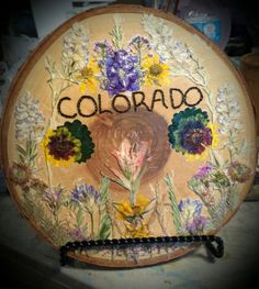 Rustic Colorado Sign on Slice of White Bark by FlowerFelicity, $44.99