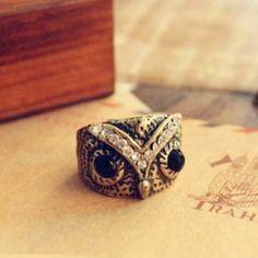 Retro Style Big-eyed Owl Shape and Rhinestone Embellished Ring (AS THE PICTURE) China Wholesale - Sammydress.com