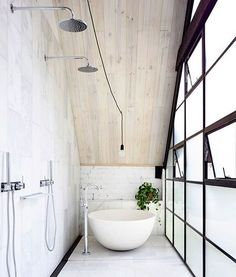 Dream Houses: Narrow Bathroom Design With Industrial Style In White - Old Brick Warehouse in Melbourne Finds New Life as a Bright Modern Loft Loft Bathroom, Bathroom Wall Decor, Small Bathroom, Bathroom Windows, Bathroom Goals, Bathroom Ideas, Serene Bathroom, Bathtub Ideas, Industrial Bathroom