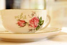 .moss rose tea cup and saucer