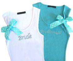 Rhinestone Bride and Bridesmaid Tank Tops with Polka Dot Ribbon $26.51