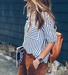 striped shirt, suede pants