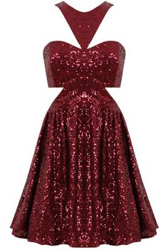 Kerry Wine Sequin Side Cut Out Open Back Skater Dress