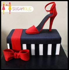Stiletto Box Cake - Cake by Sugaholic Bakeshop High Heel Cakes, Shoe Cakes, Cupcake Cakes, Fondant Figures, Grandma Birthday Cakes, Birthday Cookies, 50th Birthday, Roller Coaster Cake, Beautiful Cakes