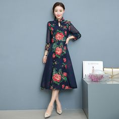 Slim Fit Retro Printing Peony Linen Big Swing Half Sleeve Dress Stand Neck Chinese Style Elegant Stitching Improved Cheongsam