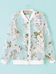 White Stand Collar Long Sleeve Sheer Mesh Jacket