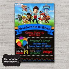 Paw Patrol Birthday invite,Paw Patrol invite,JPG file,Invite,Birthday Invite,Paw Patrol Party,Paw Patrol,Marshal,Zuma,Skye,DPP83