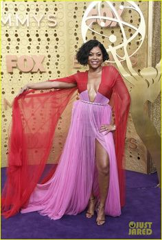 Taraji P. Henson - The Best Emmy Dresses of 2019 - StyleBistro Purple Carpet, Taraji P Henson, Glamour Makeup, Next Top Model, Red Carpet Fashion, Red And Pink, Pink Dress, The Best, Runway Fashion