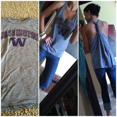 DIY tank top out of a T-shirt. I'm doing this with a shirt that is a bit too tight on me by adding a strip of lace down each side.